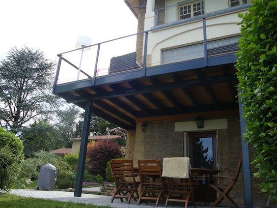 balcon sur structure acier laqué et terrasse en bois  terrasse ...