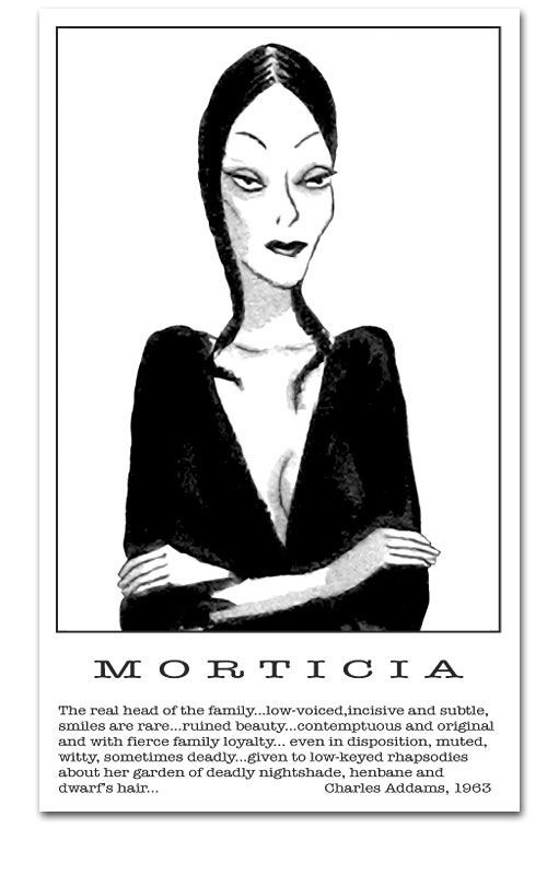 Morticia Addams description by Charles Addams, 1963