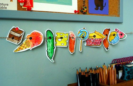 eric carle hungry caterpillar _interactive story telling props- slide the story props along the string along with the story- class helper can move the prop