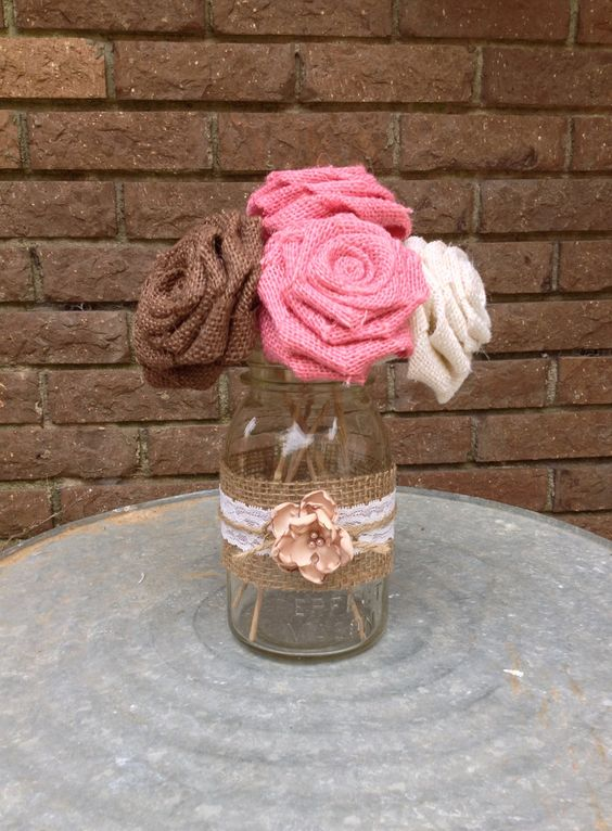 Stemmed burlap roses rustic wedding centerpiece mason jar decorations via etsy - Stemmed mason jars ...