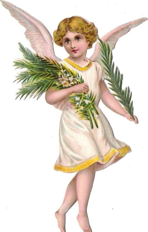 Oblaten Glanzbild scrap die cut chromo Engel  13,5cm angel cherub Palm Zweig: