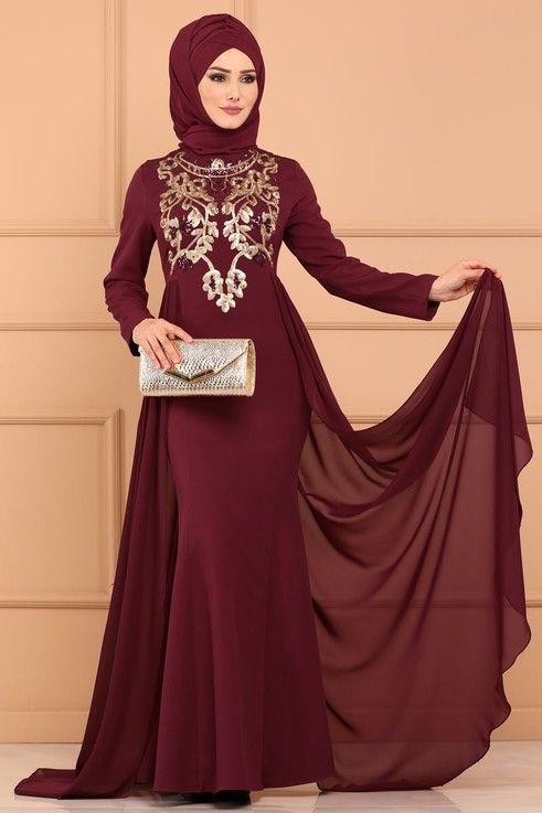 Modaselvim Abiye Sifon Kuyruklu Balik Abiye Msw8720 Bordo Hijab Fashion Fashion Long Sleeve Dress