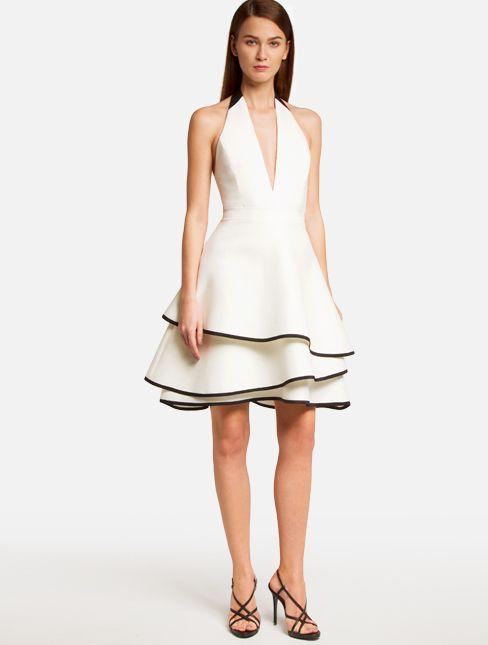 Black white halter dress