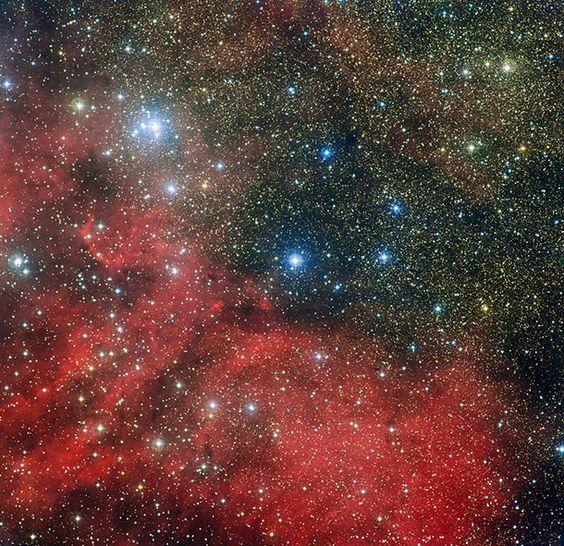 NGC 6604 + Sharpless 2-54, a stellar nursery in red.