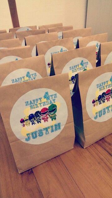 DIY Power Ranger themed goodie bags