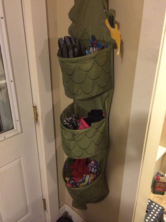 3 kids, 3 bins, perfect solution for hats, mittens and scarves