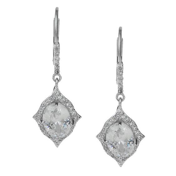Our petite oval cubic zirconia Jaffa drop earrings highlight a beautiful center stone surrounded by whimsical peaks and a romantic halo. These earrings are your day to evening accessory perfect for all occasions. Complete the suite with the matching Jafita necklace. - NinaBridal $68