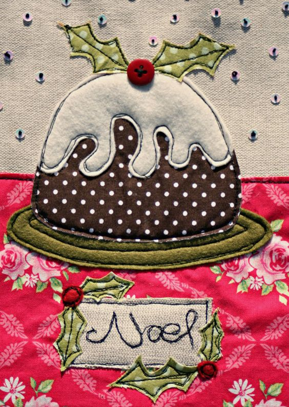 An embroidered and appliqued Christmas card  by ZoeWrightTextiles, £7.95