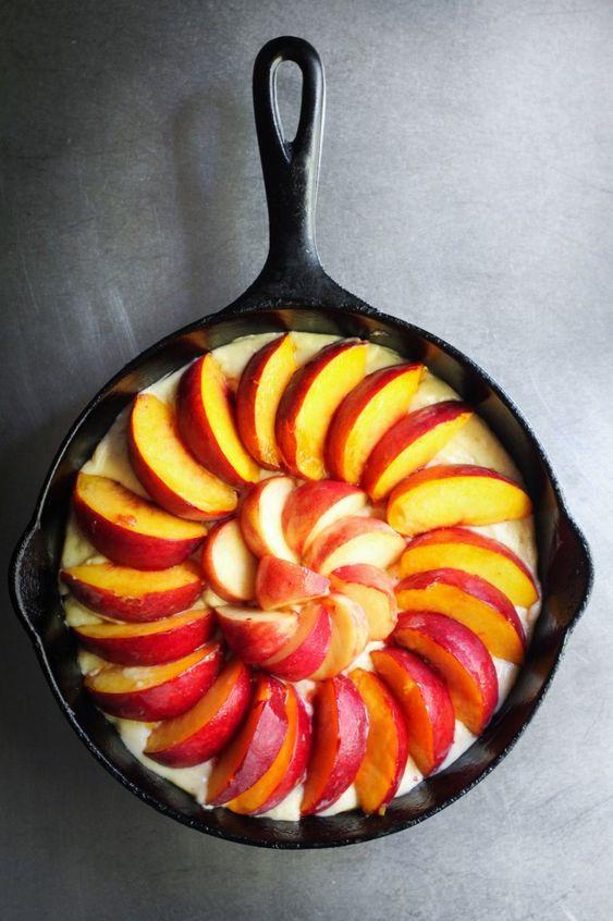 Peach Brown Butter Buckle via Kitchen Konfidence