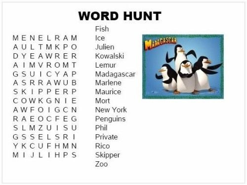 Penguins of Madagascar Word Hunt and coloring printouts for gift bags