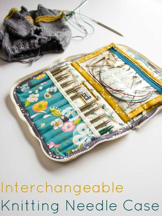 Knitting Needle Case Leather : Leather interchangeable knitting needle case