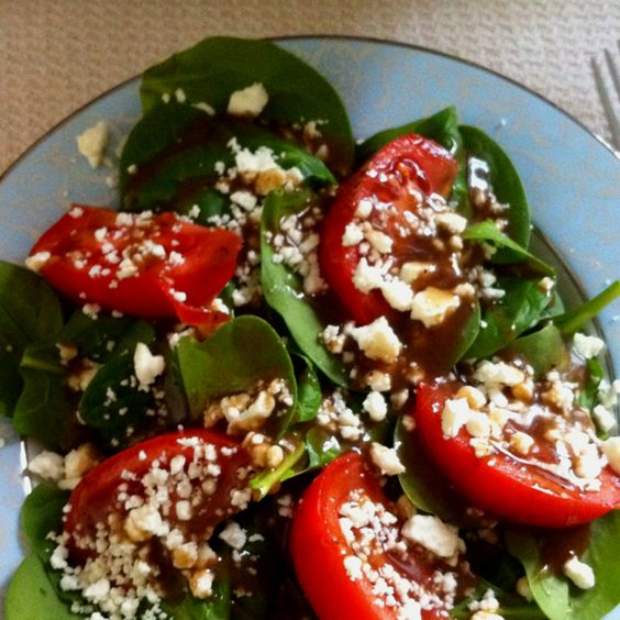 Spinach salad with feta, tomato, and light balsamic vinaigrette