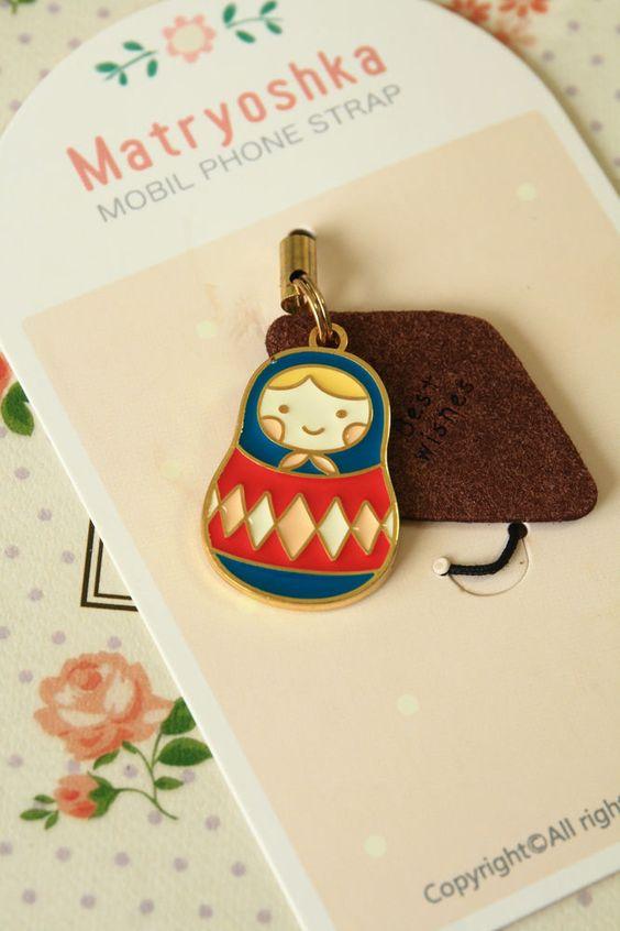 kawaii U-PICK cartoon MATRYOSHKA DOLL phone bag charm mobile lariat secret santa