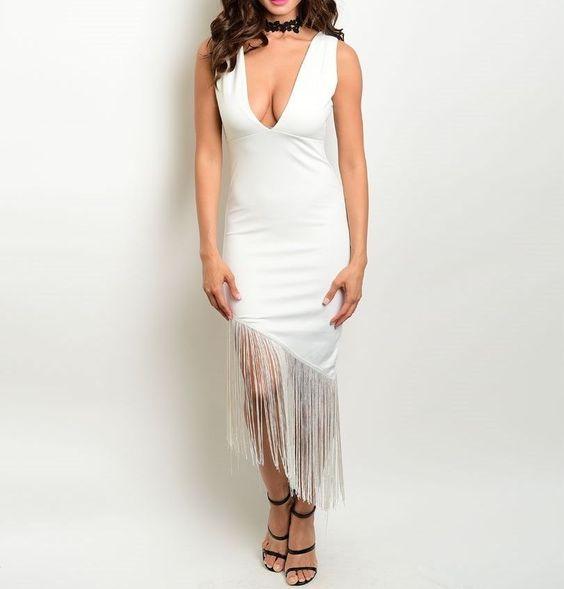 Sheath Maxi V-Back Fitted Uneven Twirling Fringe Hem Empire Waist Fashion Dress…