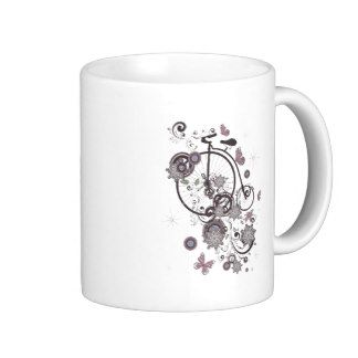 Old Bicycle and Floral Ornament 5 Coffee Mug