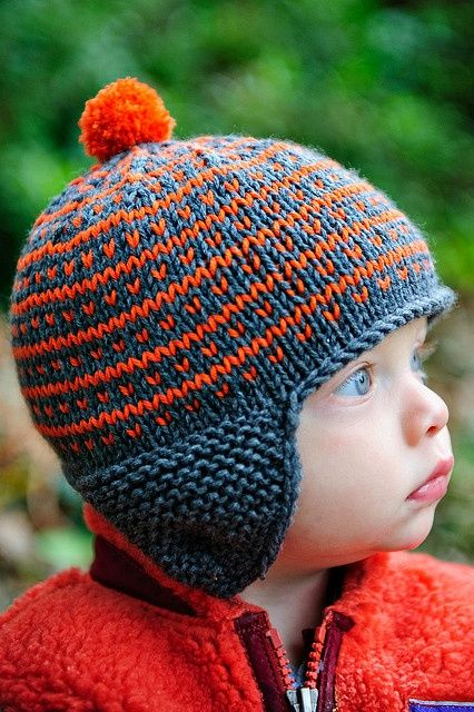 Boys Hat Knitting Pattern : Simply Fair Isle Go broncos, So cute and Ears