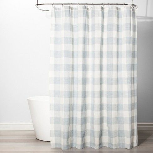 gingham checkered shower curtain borage