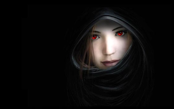 Women dark mouth red eyes artwork noses hooded witches black background 2560x1600 wallpaper ...