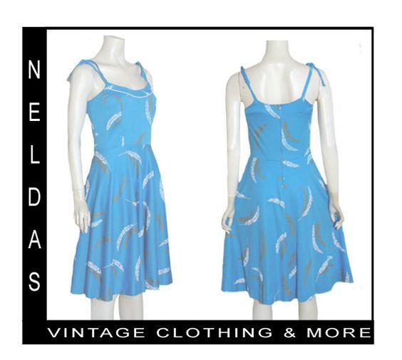 Vintage 70s Pin Up Full Skirt Sun Dress Feather Print   eBay