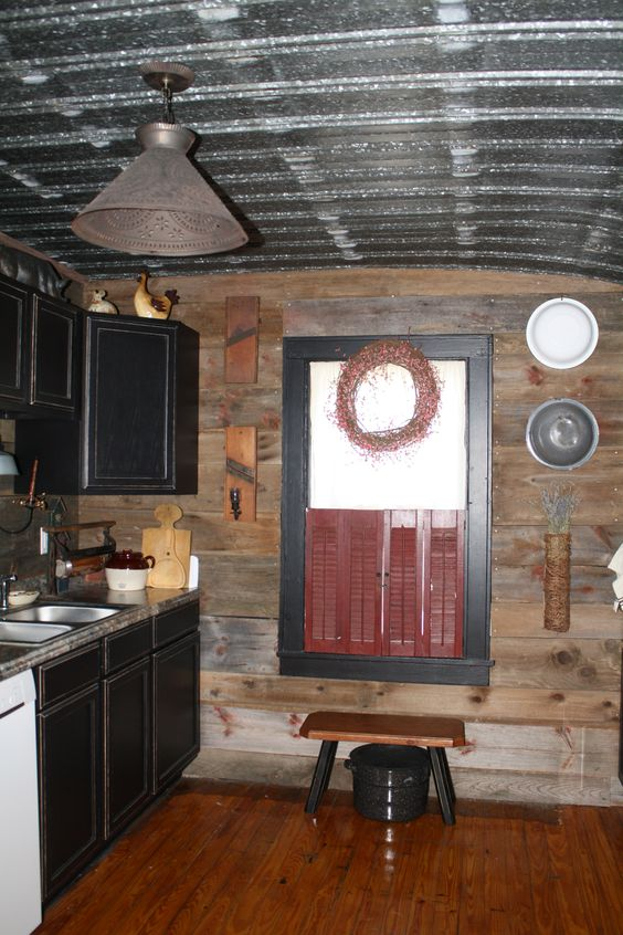 Old barn board walls and metal ceiling cabin ideas for Old barn tin ideas