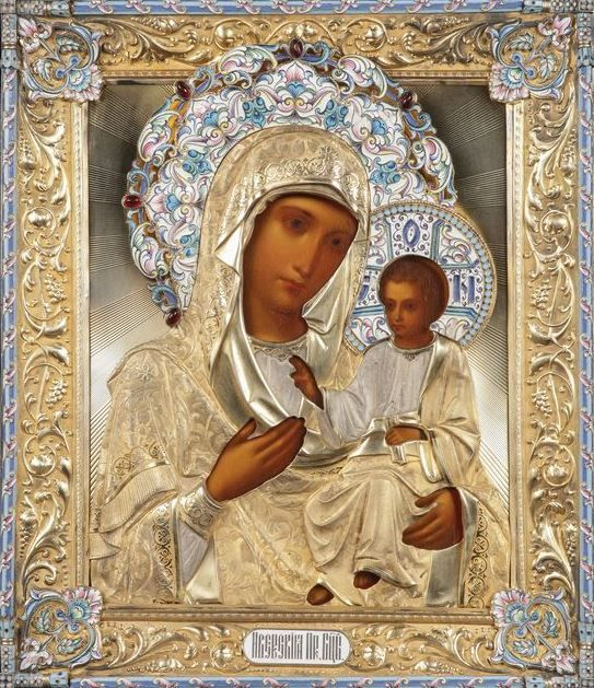 Icon of the Iver Mother of God covered by a silver-gilt repousse and enameled oklad, Moscow