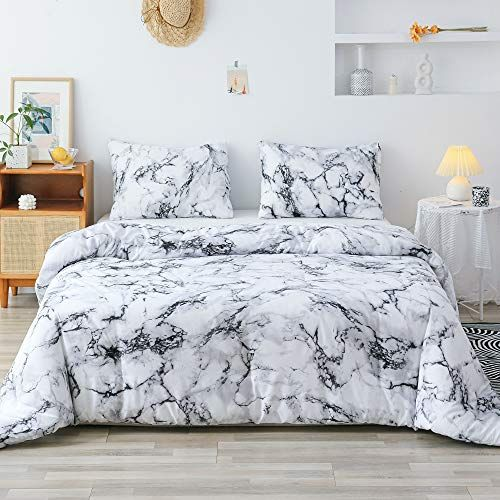 Smoofy Queen Comforter Set White Marble Pattern Printed Bed Comforter Soft Fabric With Brushed Microfiber Fill Bedding 1 Comforter 2 Pillowcases Lavorist Bed Comforters Queen Comforter Sets Queen Comforter