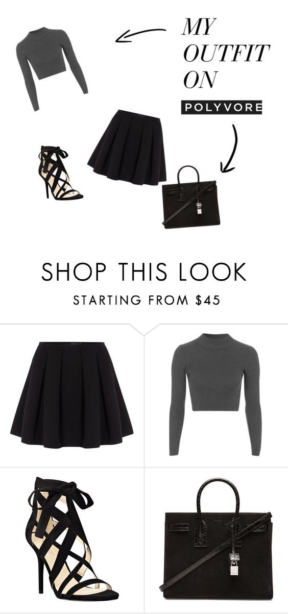 """Outfit of the Day"" by loverofaaliyah ❤ liked on Polyvore featuring Polo Ralph Lauren, Topshop, Nine West and Yves Saint Laurent"