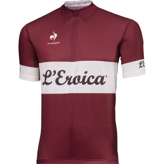 Available this season in two new shades, the Eroica jersey pays a wonderful homage to Tuscany's famous vintage race. This modern piece is appreciated for its colours, its retro look, and its cutting-edge technical details.<br>Jersey 92% polyester 8% elasthane…