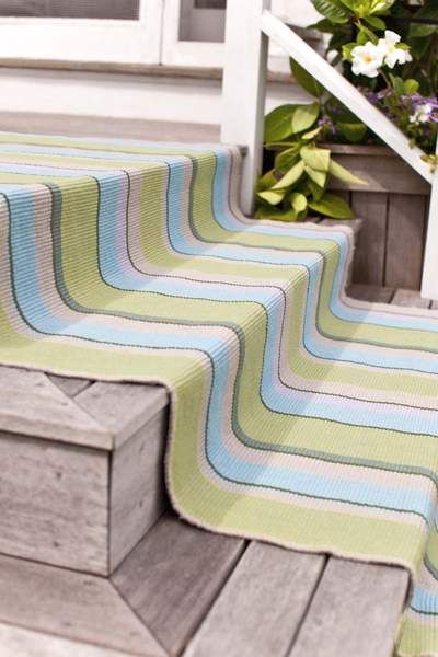 Stair Runner Dashandalbert Seaglass Stripe Woven Cotton