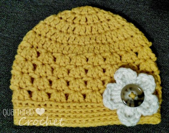 Free Crochet Pattern For Wrap Around Baby Booties : Quartered Heart Crochet: Free Pattern Crochet Baby Hat ...