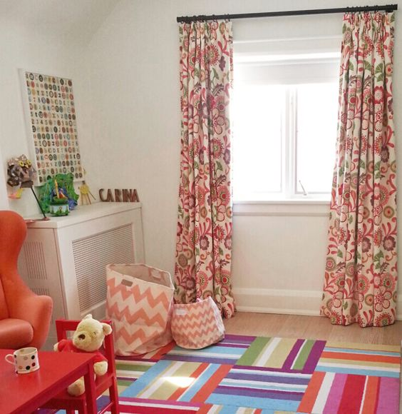 floral drapes for little girls room by tonic living bright and cheerful flowers in pink orange. Black Bedroom Furniture Sets. Home Design Ideas