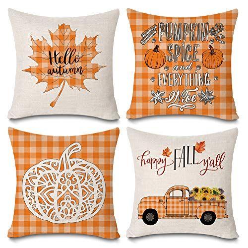 Fall Harvest Pumpkin Plaid Pillow Cover