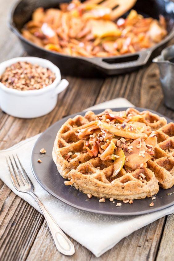 Caramel Pecan Waffles with Cinnamon Apple Topping | Caramel Pecan ...