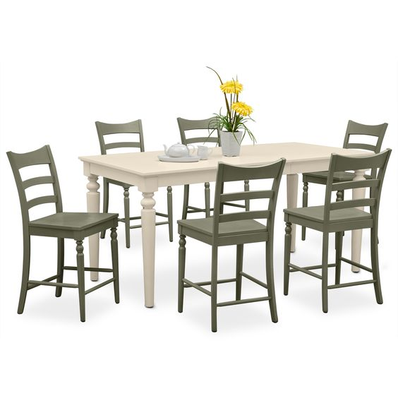 1000 Ideas About Counter Height Chairs On Pinterest: Carnival Green II 7 Pc. Counter