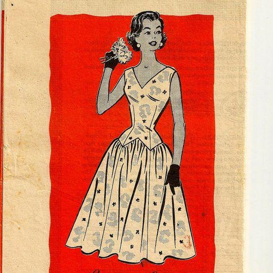 A Fabulous Retro Drop-Waist Sleeveless V-Neck Sundress Pattern, Vintage 1950s