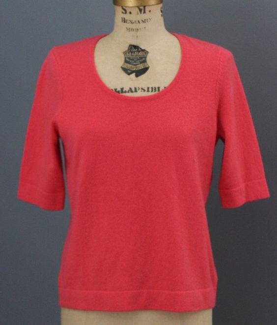 Ralph Lauren 100 Cashmere Coral Salmon Pink Short Sleeve Sweater S   eBay