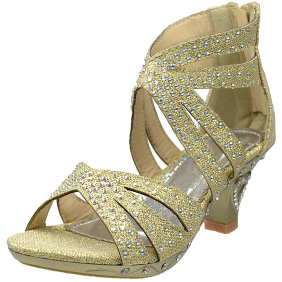 Kids Dress Sandals Rhinestone Glitter Cutout High Heel #Pageant ...