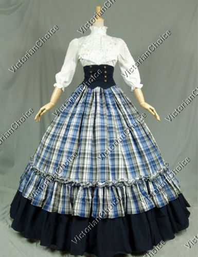 Victorian Gothic Dress Ball Gown Reenactment Clothing Stage Costume Punk K001 S: