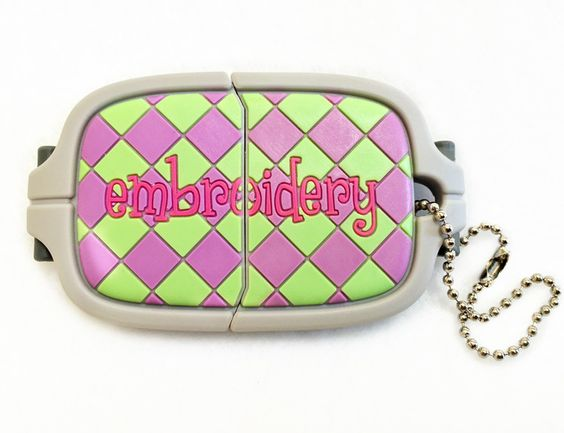 Choose 2Gb or4GB Embroidery HoopUSBDrives, Storing embroidery designs andother important information has never been more fun or stylish than when using these sewingthemed USB drives.  Collect them all, having extra storage is always a good idea!...Great as backup or to storage your appliques files in one and regular embroidery on another one.
