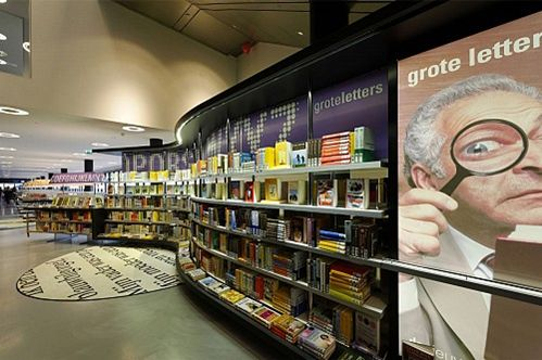 frontal display of books, signage