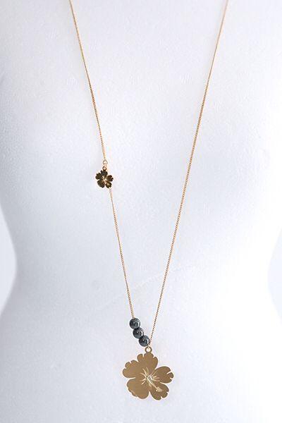 Sautoir fleurs et perles. Doré à l'or fin 24 carats. MON COEUR DE MOI BIJOUX  www.moncoeurdemoi.com
