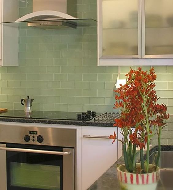 Green Kitchen Backsplash: Surf, Subway Tile Backsplash And Glasses On Pinterest