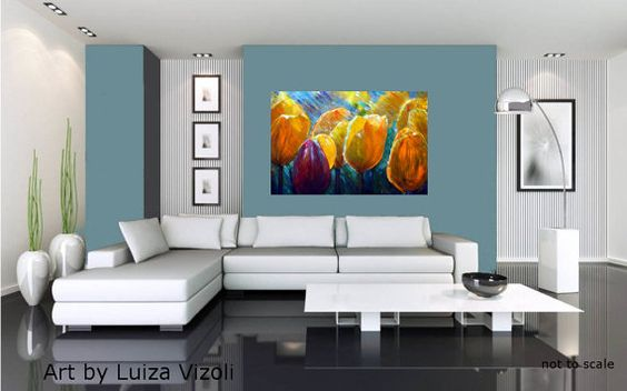 TULIPS in the RAIN Original Modern Impressionist by LUIZAVIZOLI, $345.00