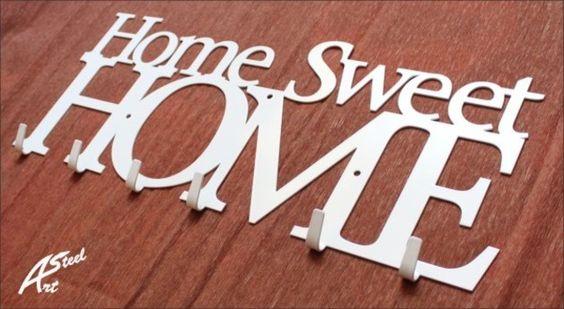 Kleider- und Schlüsselhaken, Home Sweet Home Weiß