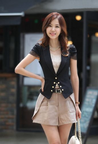 Slimming Style Turn-Down Collar Double-Breasted Pure Color Short Puff Sleeves Suiting+Cotton Blazer For Women (BLACK,S) China Wholesale - Sammydress.com