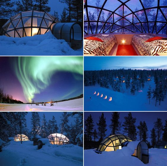 Glass igloos at Hotel Kakslauttanen in Finland - special thermal glass resists frosting to offer a clear view of the Northern Lights and millions of stars
