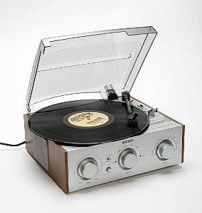 """Retro-Style Record Player to sit on top of DWR """"mag table"""" 4 soul/lounge music. #DWRdining"""