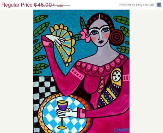 50% Off- Mexican Folk Art Frida Kahlo art Art Print Poster by Heather Galler