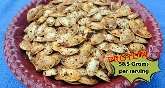 "Roasted Pumpkin Seeds Recipe Don't know if i'd consider 1 1/2 cups a ""serving."" 1/4 cup provides about 10g protein."