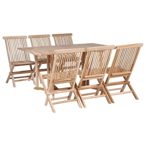 Berkfield Folding Dining Table And Chair Set 7 Pieces Solid Teak Sol 72 Outdoor Products In 2019 Outdoor Furniture Sets Dining Furniture Sets Corner Dining Set